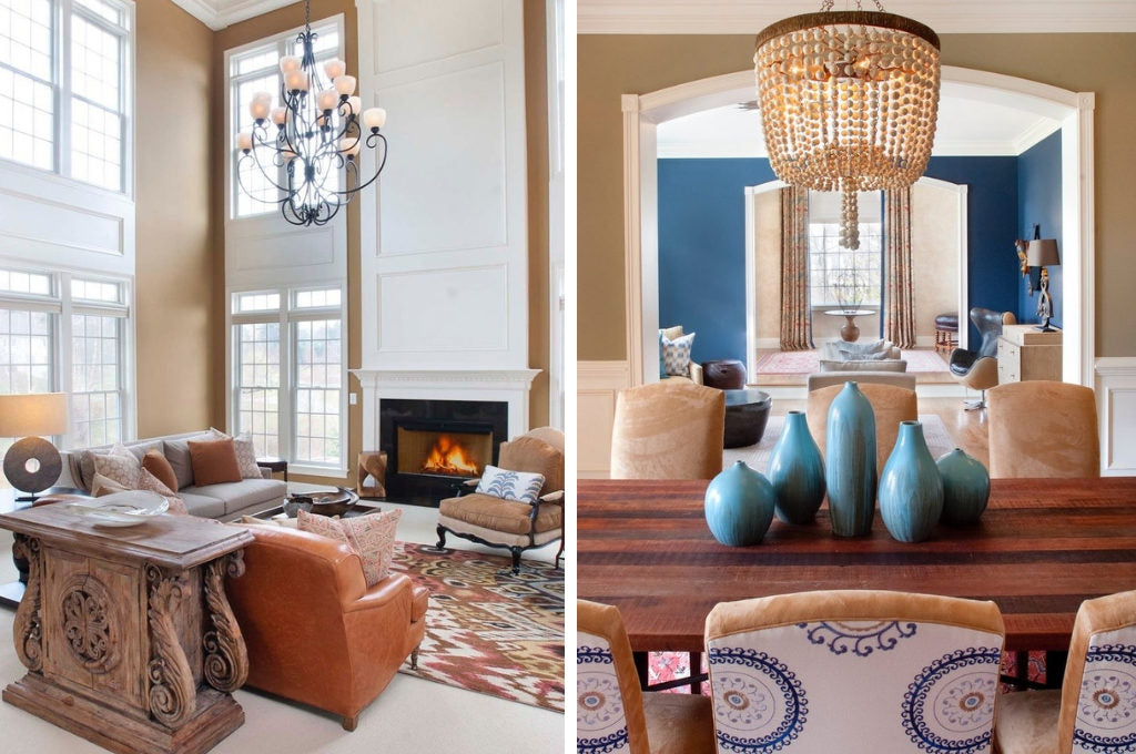 Living room and dining room Design by Nile Johnson Interior Design