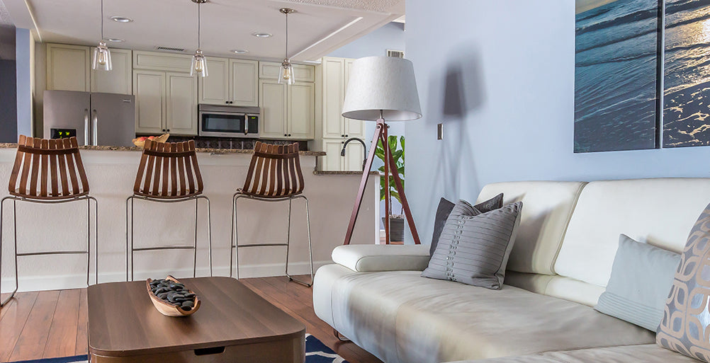 Open concept kitchen and living room design by Tamara Archer of T. Archer Design