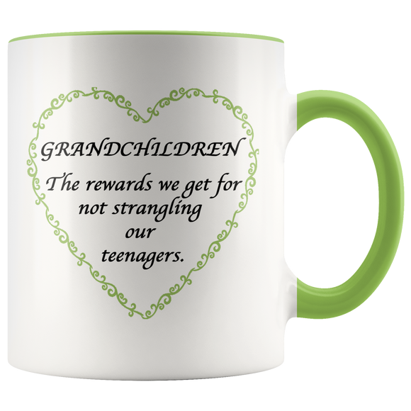 Grandchildren Are The Rewards Green Accent Mug