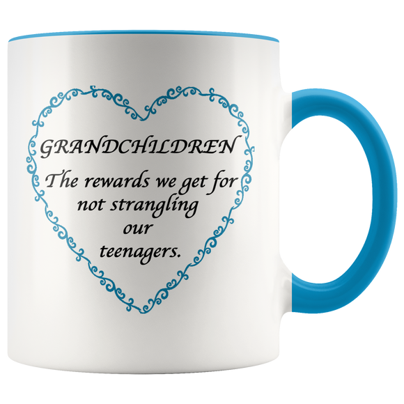 Grandchildren are the rewards Blue Accent Mug