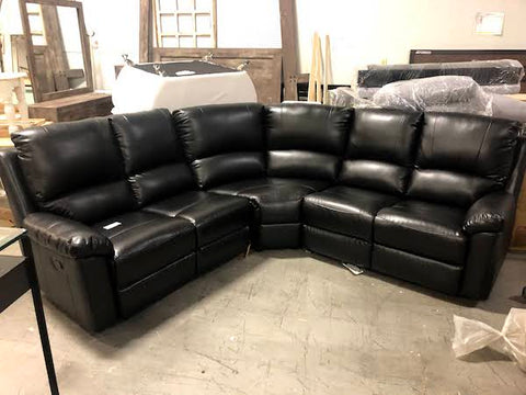 Contemporary Black Leather Air Reclining Sectional