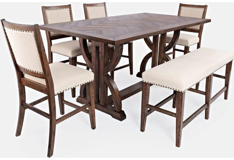 6-Piece Oak Counter Table Bench and Chair Set - Remy's Furniture Warehouse