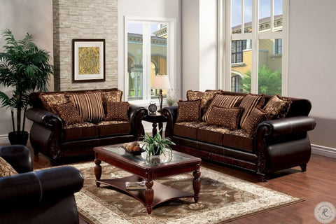 Franklin Dark Brown Fabric and Leatherette Living Room Set