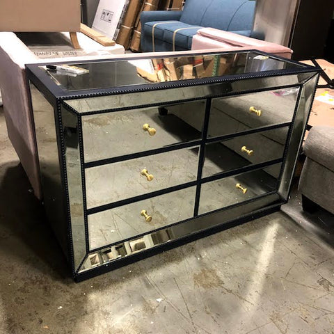 Blue 6 Drawer Mirrored Accent Chest