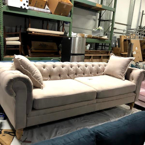 "Beige 85"" Wide Rolled Arm Chesterfield Sofa"