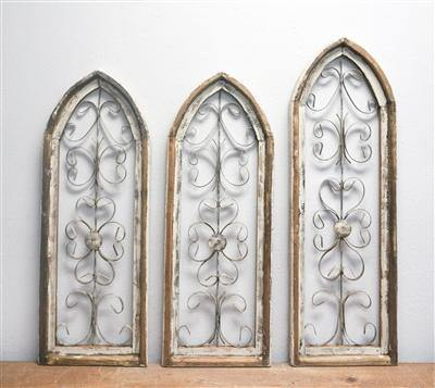 Rustic Wood & Metal Church Arch Windows - Round Top - Remy's Furniture Warehouse