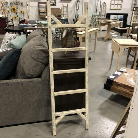 Rustic Country Style White Wooden Ladder - Remy's Furniture Warehouse