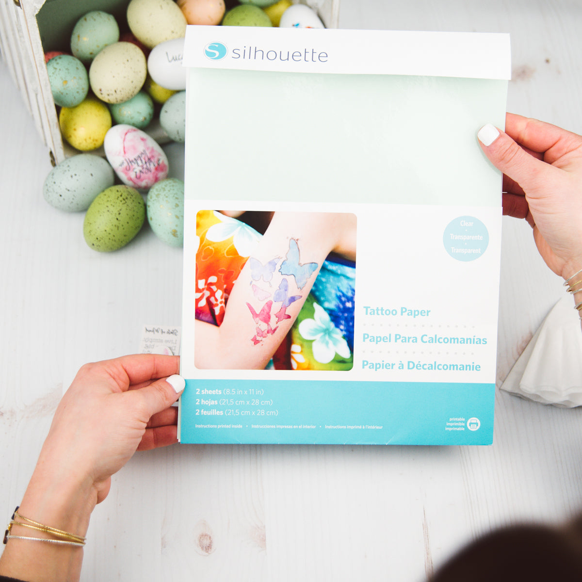 photo about Silhouette Printable Tattoo Paper identified as Do-it-yourself Easter Eggs Having Non permanent Tattoo Paper Luca + Danni