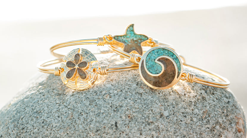 bangle bracelets with sand for ocean conservations