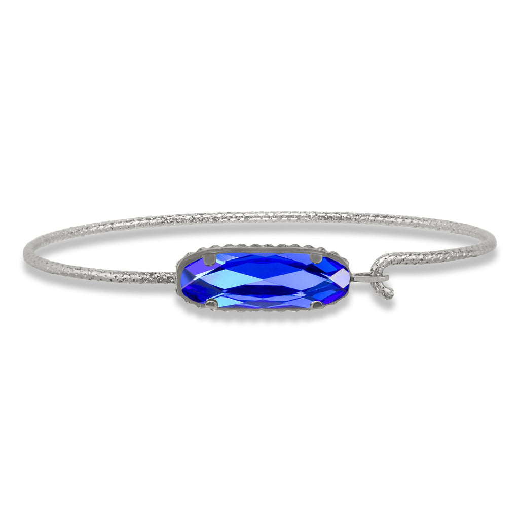 Sterling Silver Willow Bangle Bracelet In Majestic Blue-Precious Metals Bracelet-Regular-finish:Sterling Silver-Luca + Danni