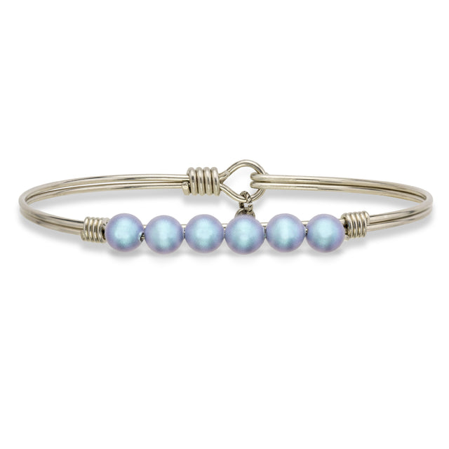 Crystal Pearl Bangle Bracelet In Aqua-Bangle Bracelet-Regular-finish:Silver Tone-Luca + Danni