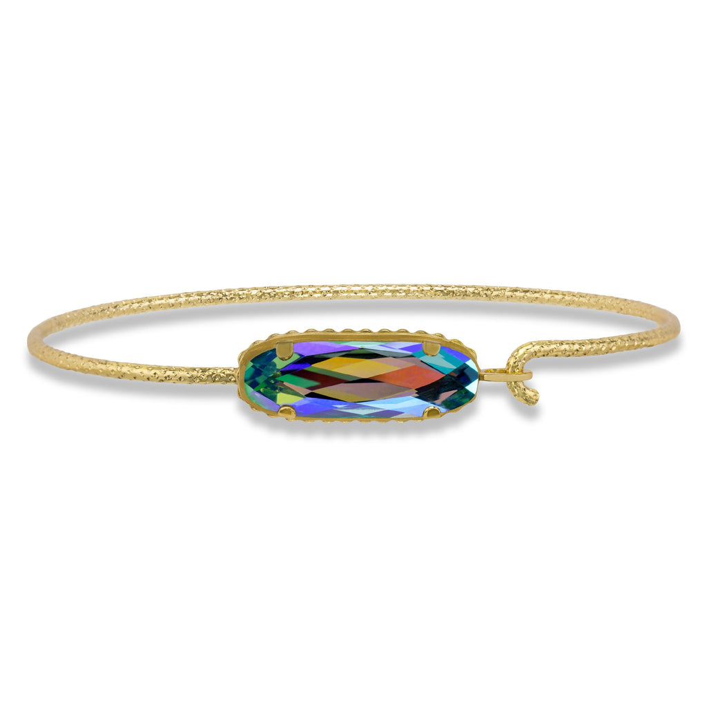 Sterling Silver Willow Bangle Bracelet In Caribbean-Precious Metals Bracelet-Regular-finish:18kt Gold Plated-Luca + Danni
