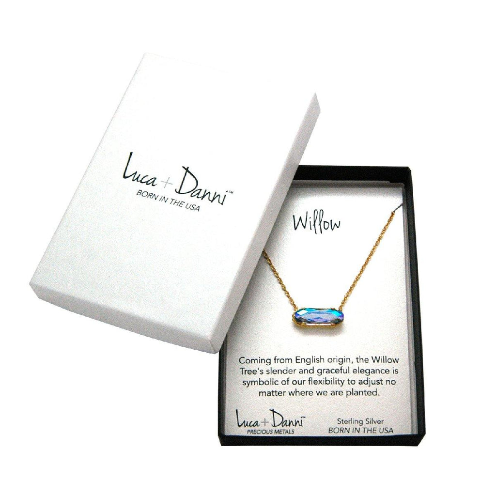 Sterling Silver Willow Necklace In Crystal AB-Precious Metals Pendant-finish:-Luca + Danni