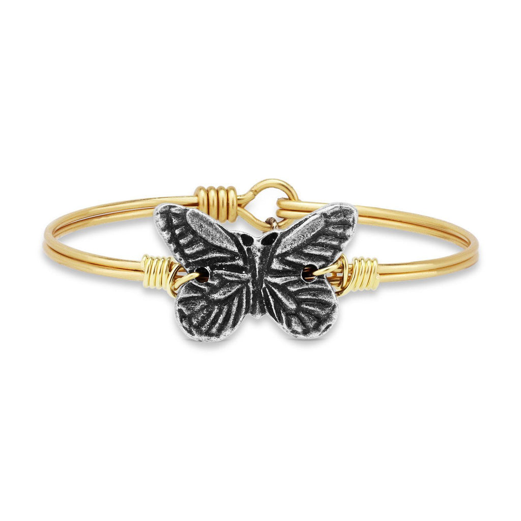 Butterfly Bangle Bracelet-Bangle Bracelet-Regular-finish:Brass Tone-Luca + Danni