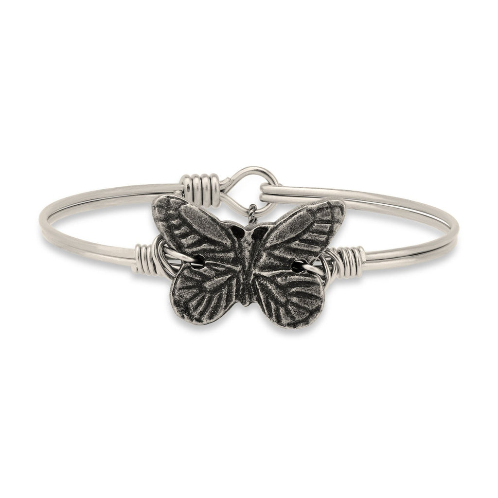 Butterfly Bangle Bracelet-Bangle Bracelet-Regular-finish:Silver Tone-Luca + Danni
