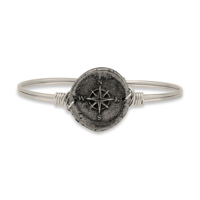 Compass Bangle Bracelet-Bangle Bracelet-Regular-finish:Silver Tone-Luca + Danni