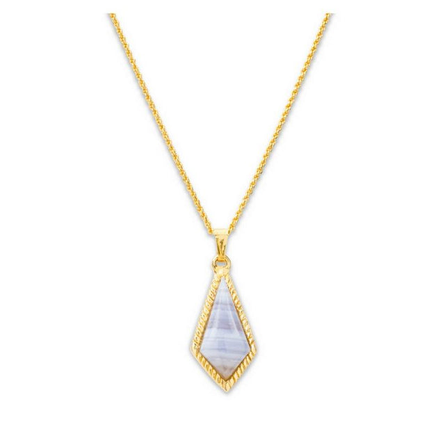 Sloane Slider Necklace In Blue Lace Agate-Necklace-finish:18kt Gold Plated-Luca + Danni