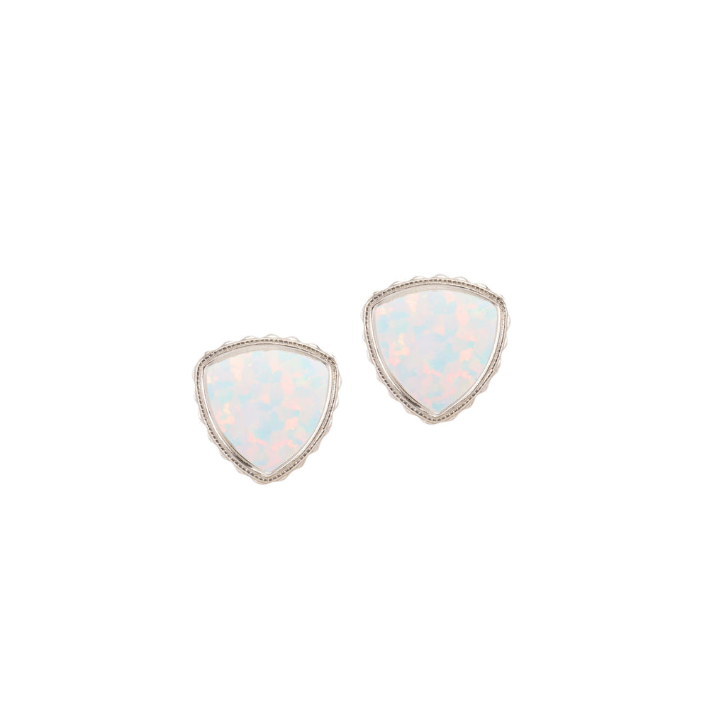 Sterling Silver Trillion Earrings In White Opal-Precious Metals Earrings-finish:Sterling Silver-Luca + Danni