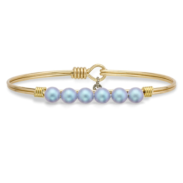 Crystal Pearl Bangle Bracelet In Aqua-Bangle Bracelet-Regular-finish:Brass Tone-Luca + Danni