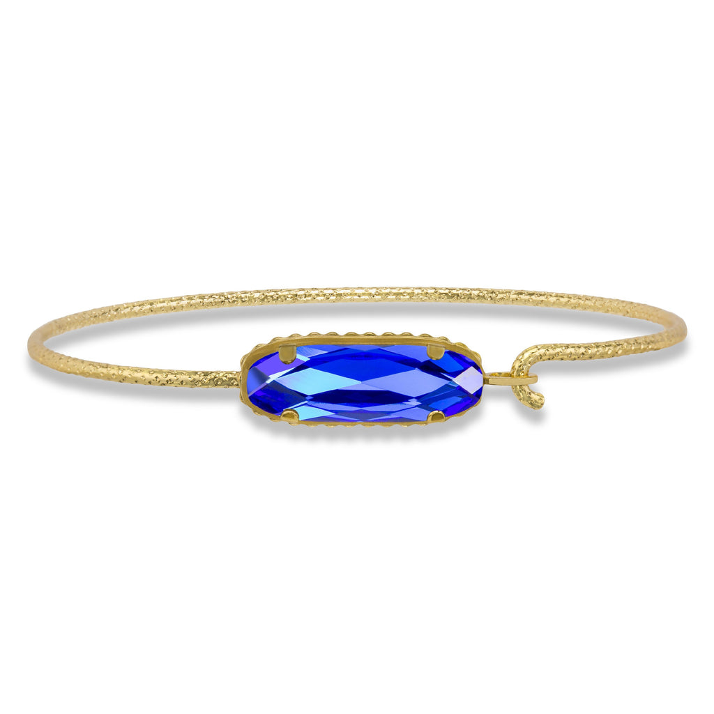 Sterling Silver Willow Bangle Bracelet In Majestic Blue-Precious Metals Bracelet-Regular-finish:18kt Gold Plated-Luca + Danni