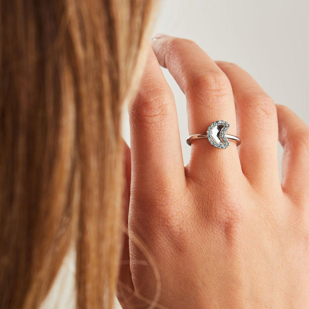 Crystal Pave Crescent Moon Ring
