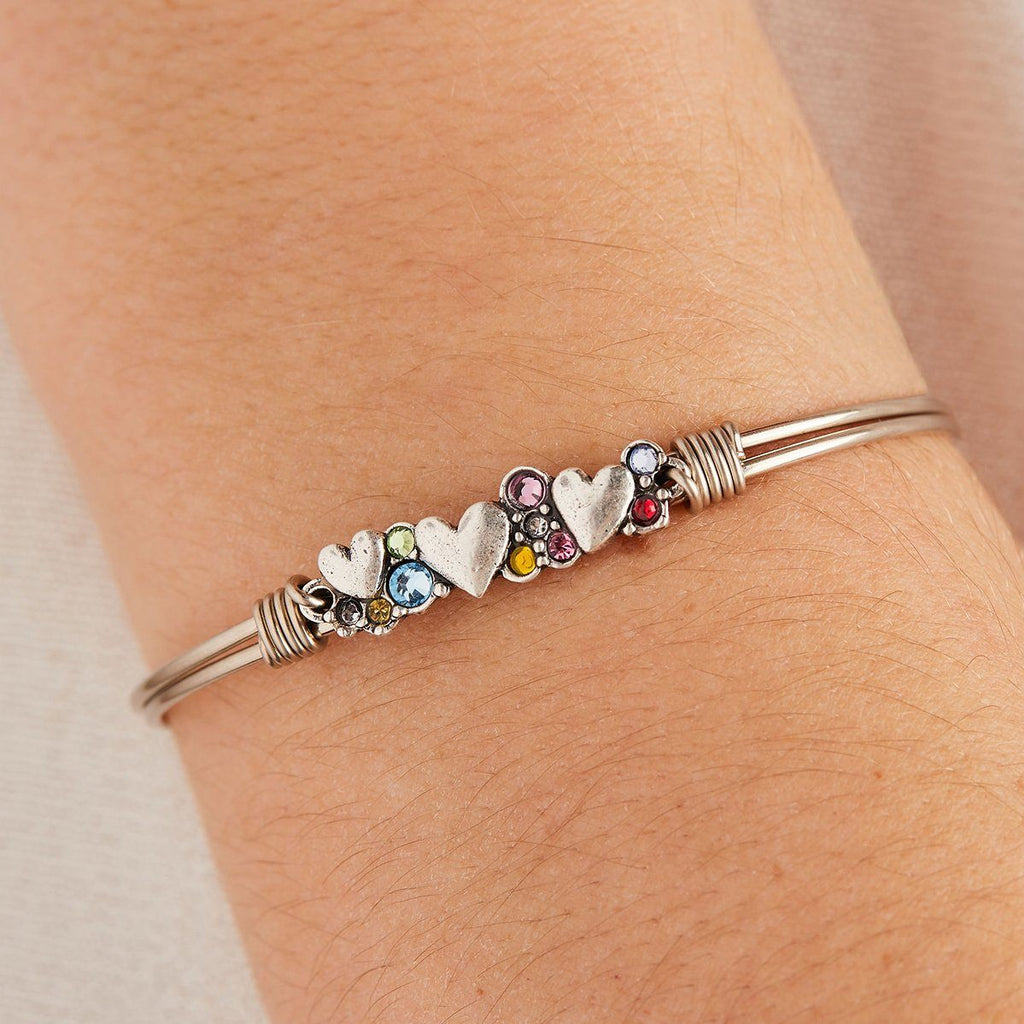 Heart Medley Bangle Bracelet in Rainbow