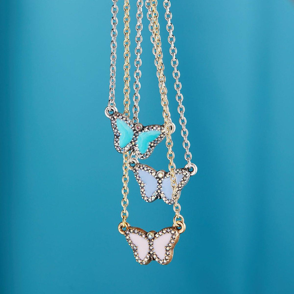 Crystal Pave Butterfly Necklace in Teal