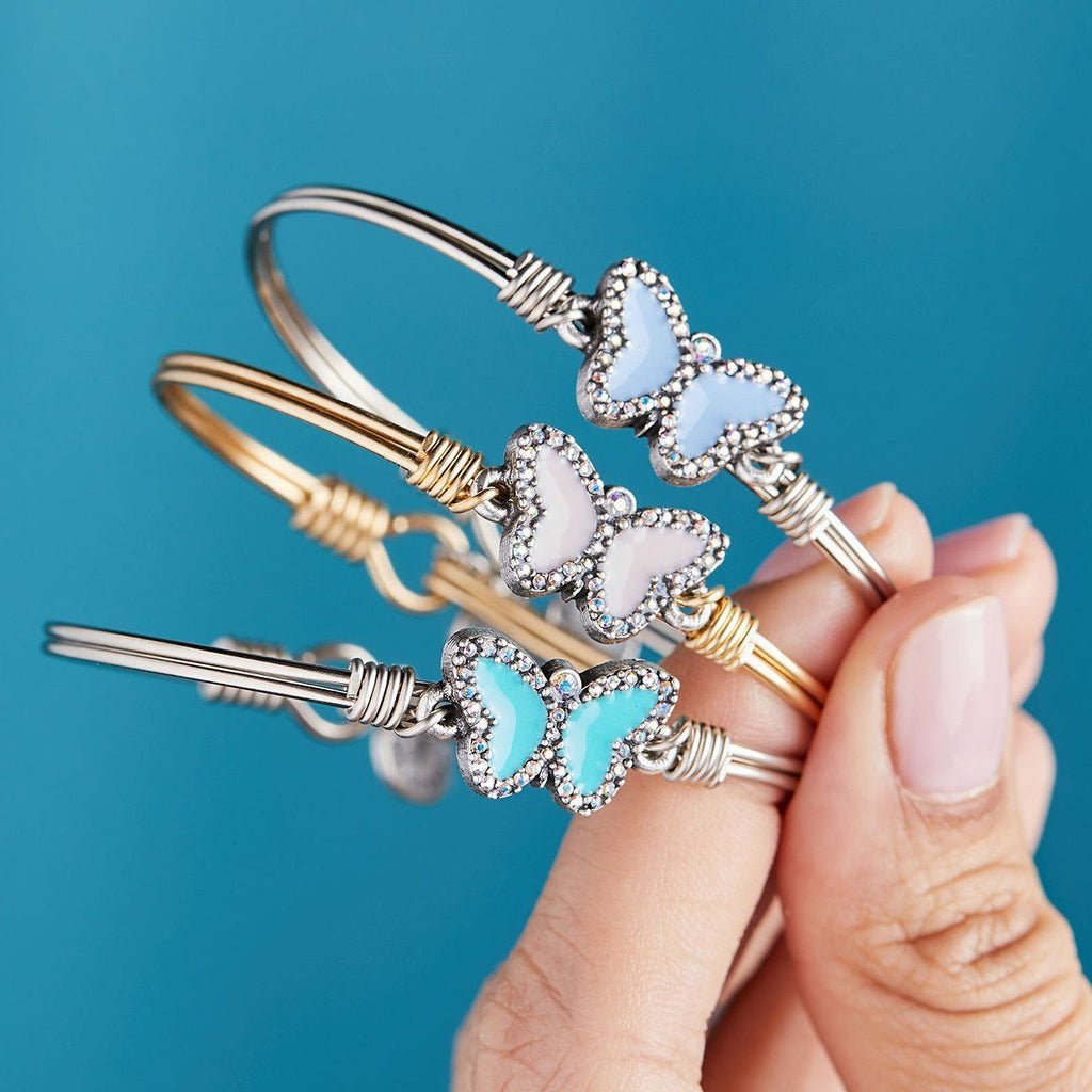 Crystal Pave Butterfly Bangle Bracelet in Teal