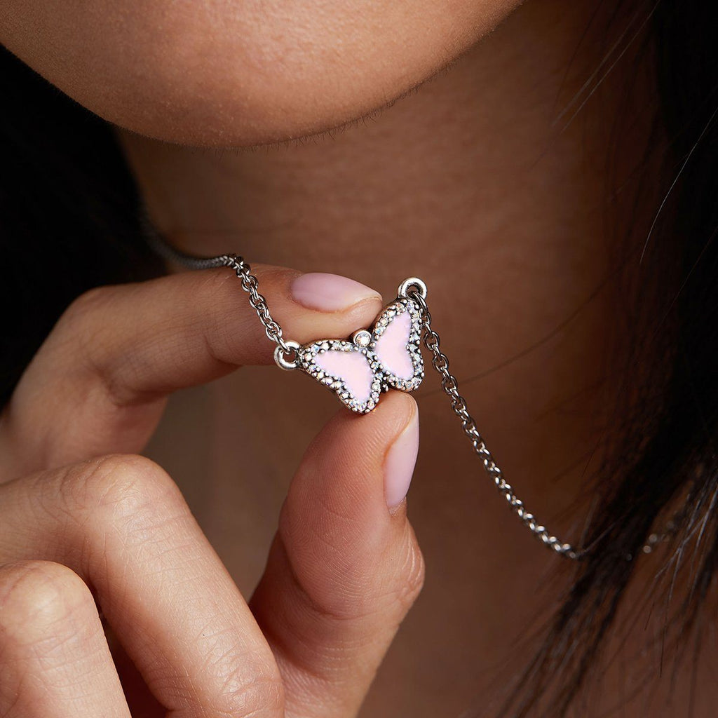 Crystal Pave Butterfly Necklace in Cotton Candy