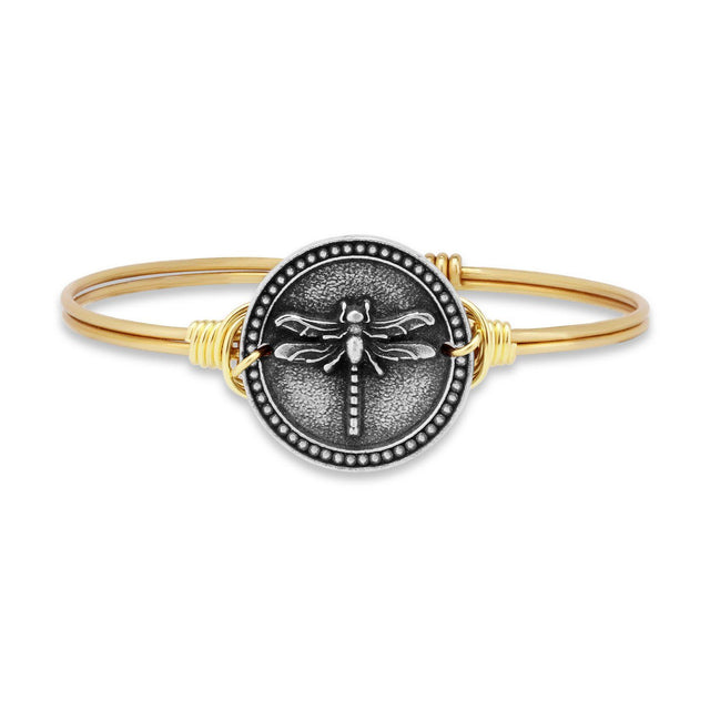 Dragonfly Bangle Bracelet-Bangle Bracelet-Regular-finish:Brass Tone-Luca + Danni