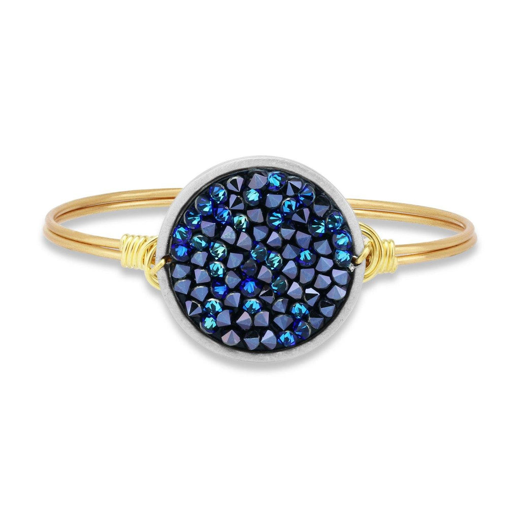 Druzy Bangle Bracelet In Metallic Blue-Bangle Bracelet-Regular-finish:Brass Tone-Luca + Danni