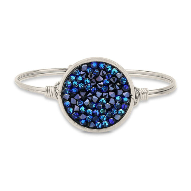 Druzy Bangle Bracelet In Metallic Blue-Bangle Bracelet-Regular-finish:Silver Tone-Luca + Danni