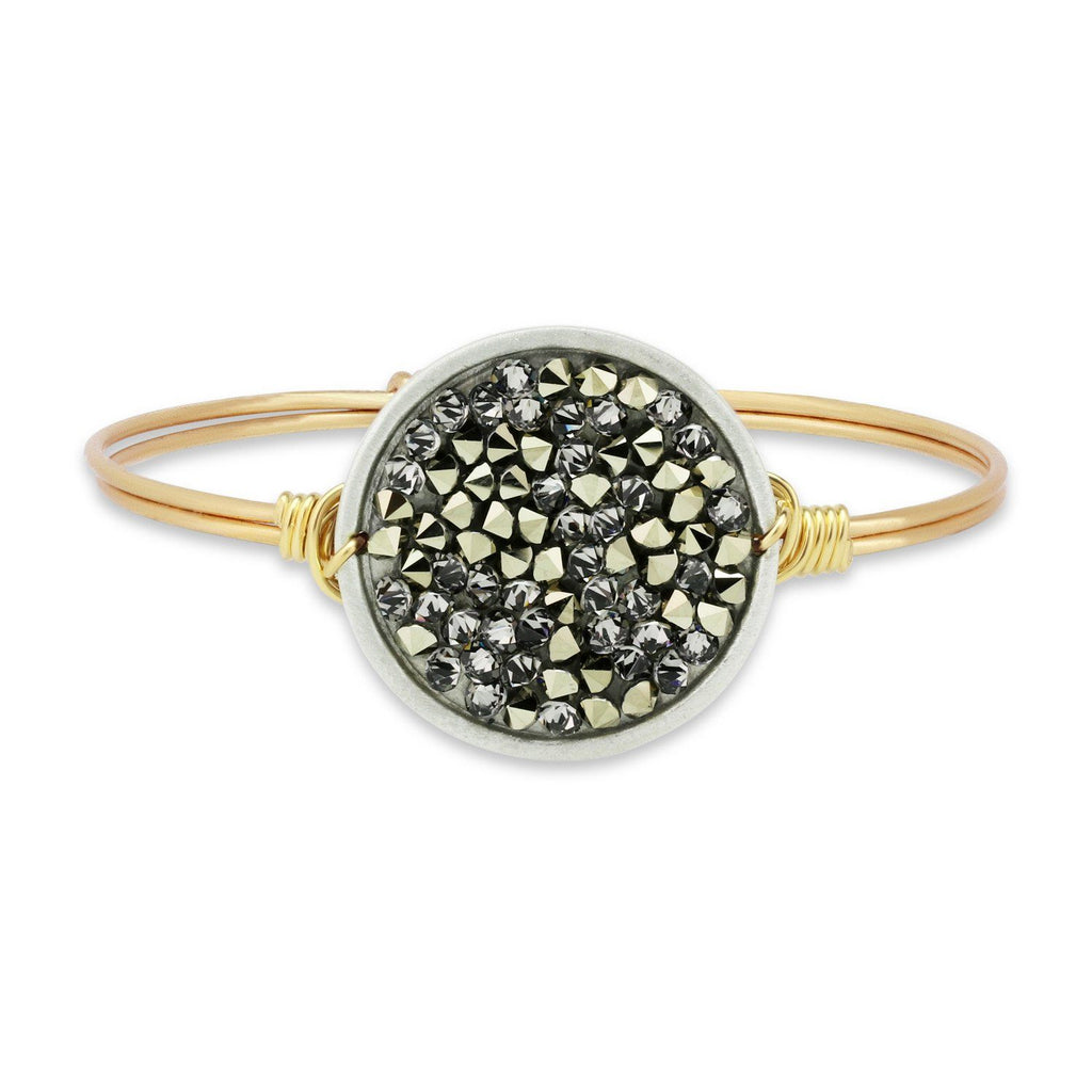 Druzy Bangle Bracelet In Metallic Gold