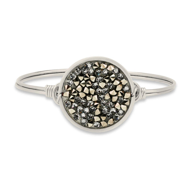 Druzy Bangle Bracelet In Metallic Gold-Bangle Bracelet-Regular-finish:Silver Tone-Luca + Danni