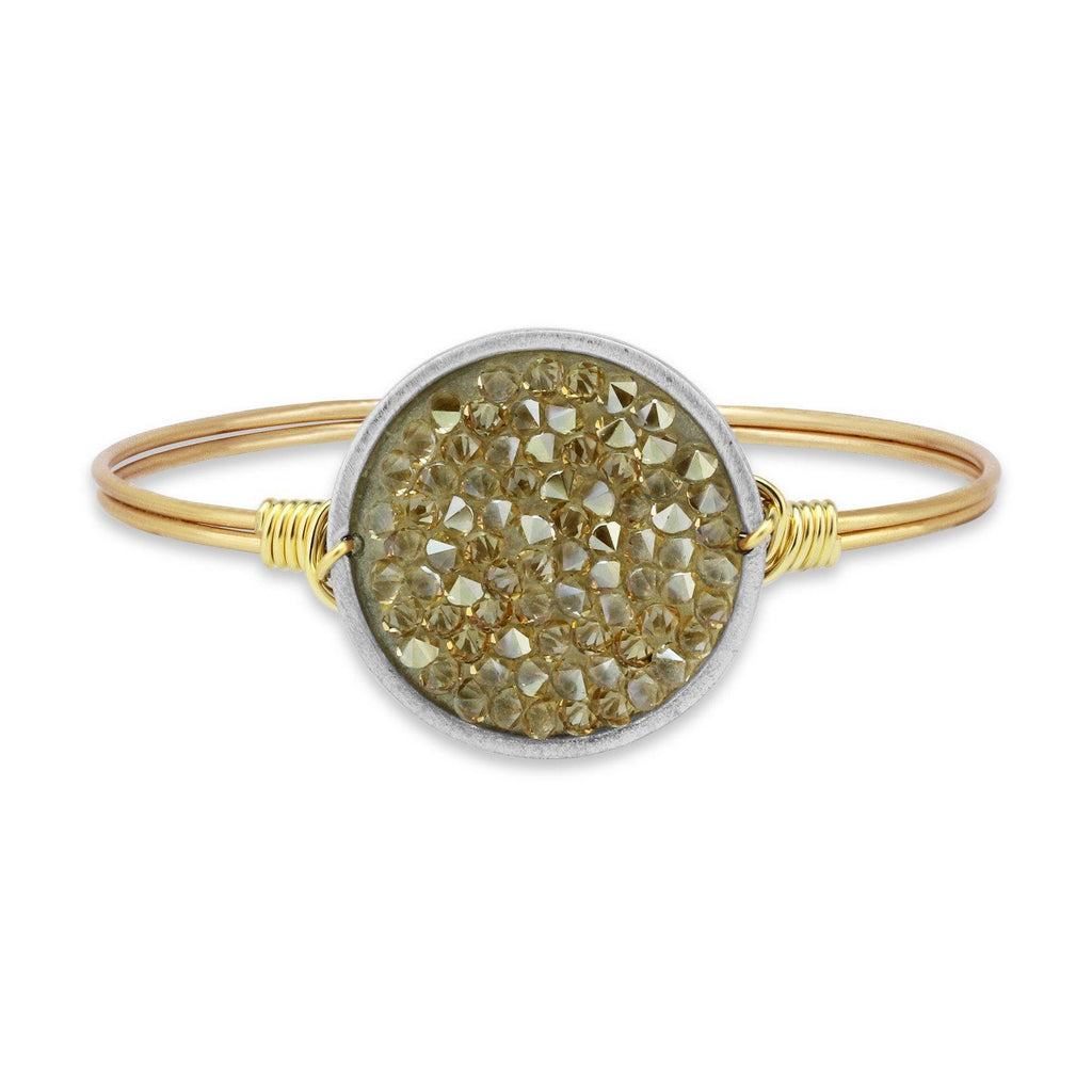 Druzy Bangle Bracelet In Metallic Champagne-Bangle Bracelet-Regular-finish:Brass Tone-Luca + Danni