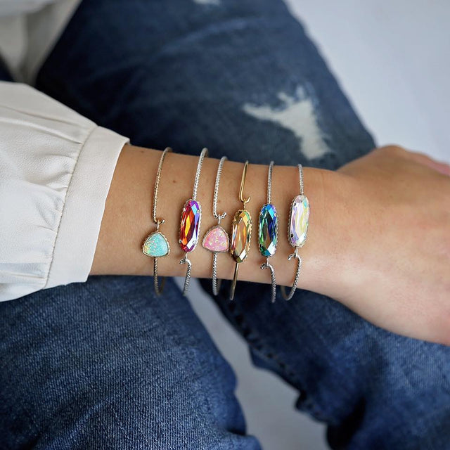 Sterling Silver Trillion Bangle Bracelet In Sea Foam Opal-Precious Metals Bracelet-finish:-Luca + Danni