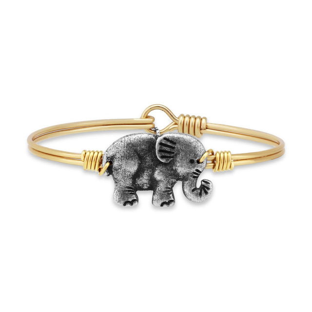 Elephant Bangle Bracelet-Bangle Bracelet-Regular-finish:Brass Tone-Luca + Danni