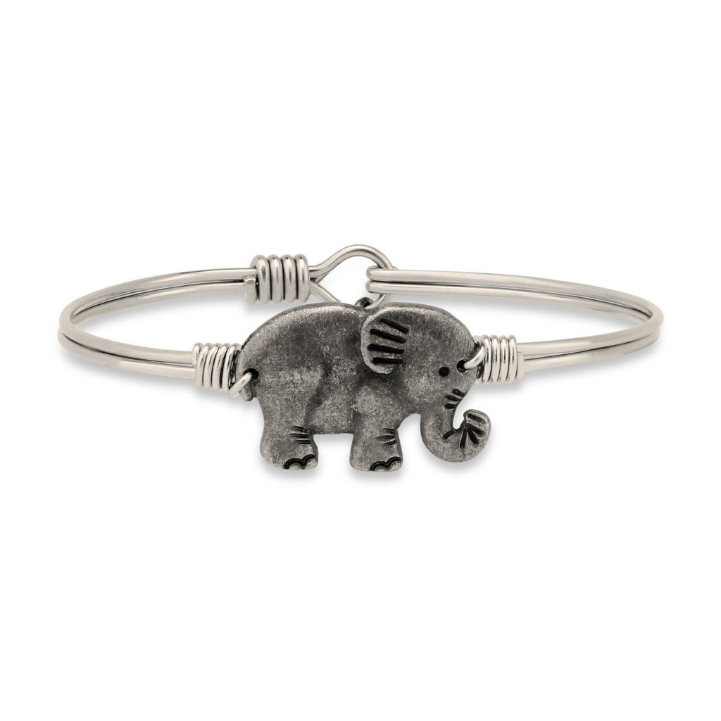 Elephant Bangle Bracelet-Bangle Bracelet-Regular-finish:Silver Tone-Luca + Danni