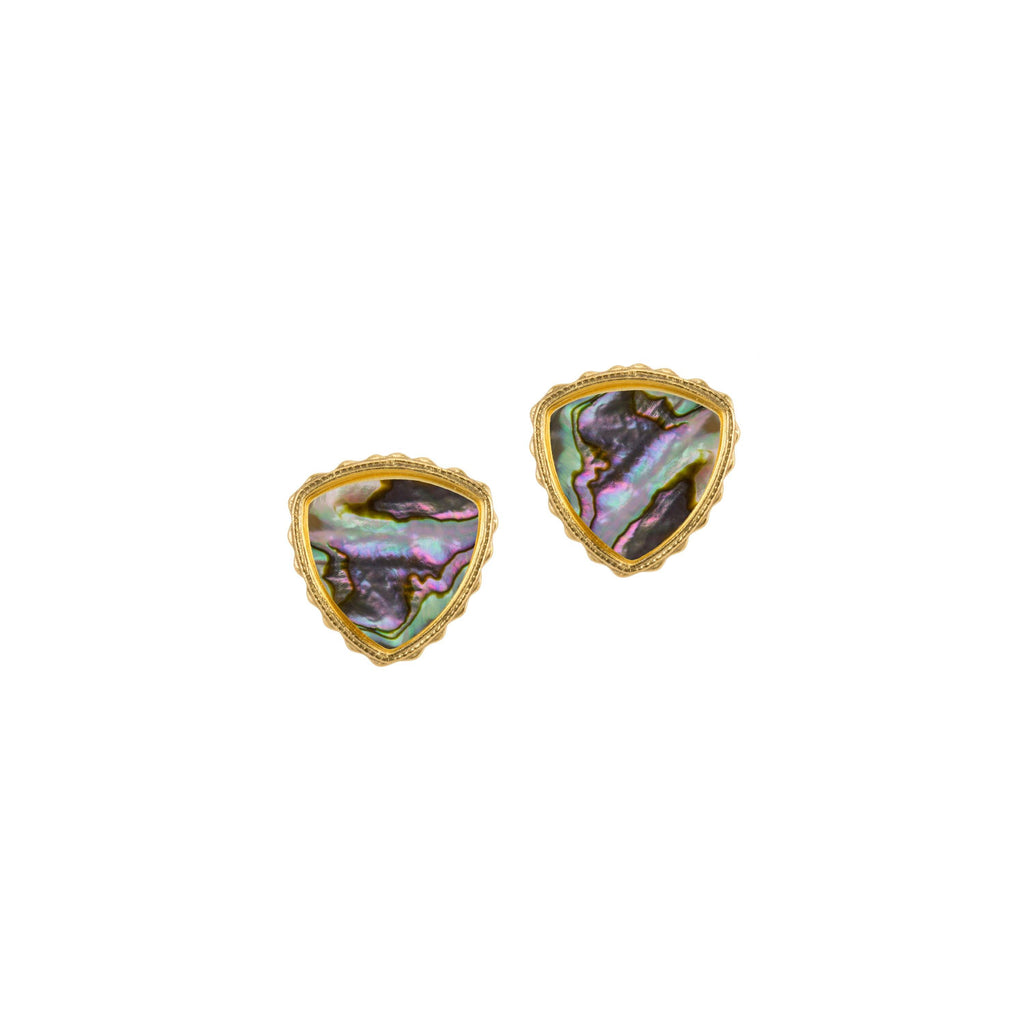 Sterling Silver Trillion Earrings In Abalone Shell-Precious Metals Earrings-finish:18kt Gold Plated-Luca + Danni