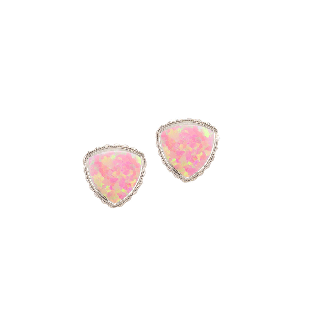Sterling Silver Trillion Earrings In Pink Opal-Precious Metals Earrings-finish:18kt Gold Plated-Luca + Danni