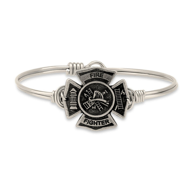 Firefighter Bangle Bracelet-Bangle Bracelet-Regular-finish:Silver Tone-Luca + Danni