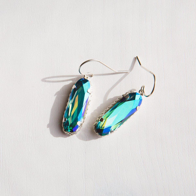 Sterling Silver Willow Earrings In Caribbean-Precious Metals Earrings-finish:18kt Gold Plated-Luca + Danni