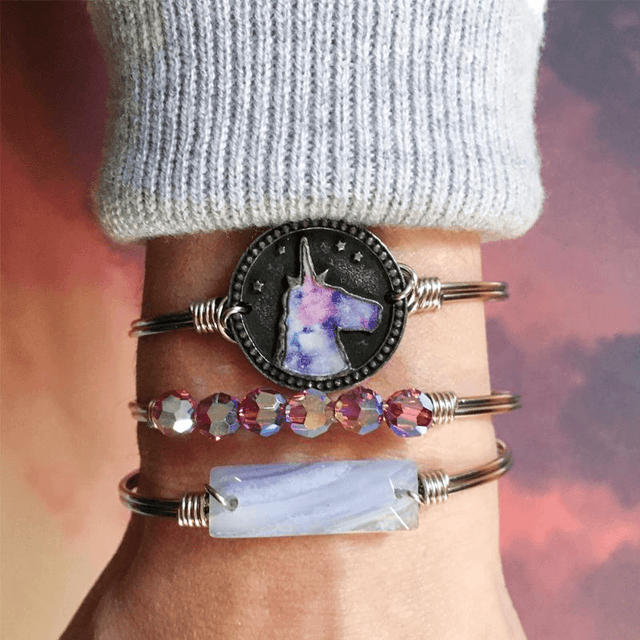 Tie Dye Unicorn Bangle Bracelet-Bangle Bracelet-finish:-Luca + Danni