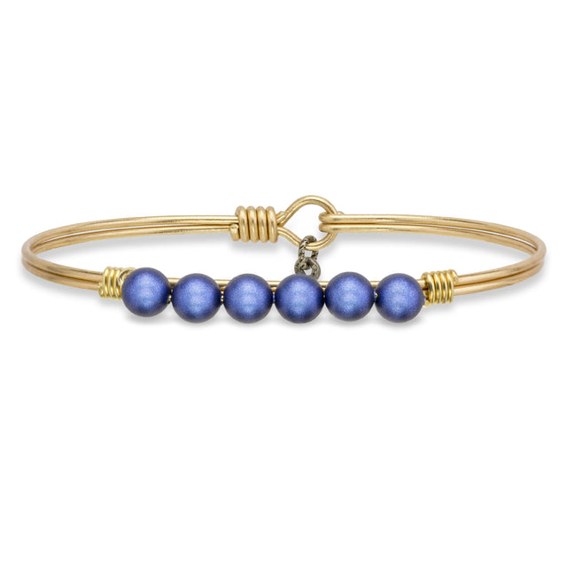 Crystal Pearl Bangle Bracelet In Blue Lapis-Bangle Bracelet-Regular-finish:Brass Tone-Luca + Danni