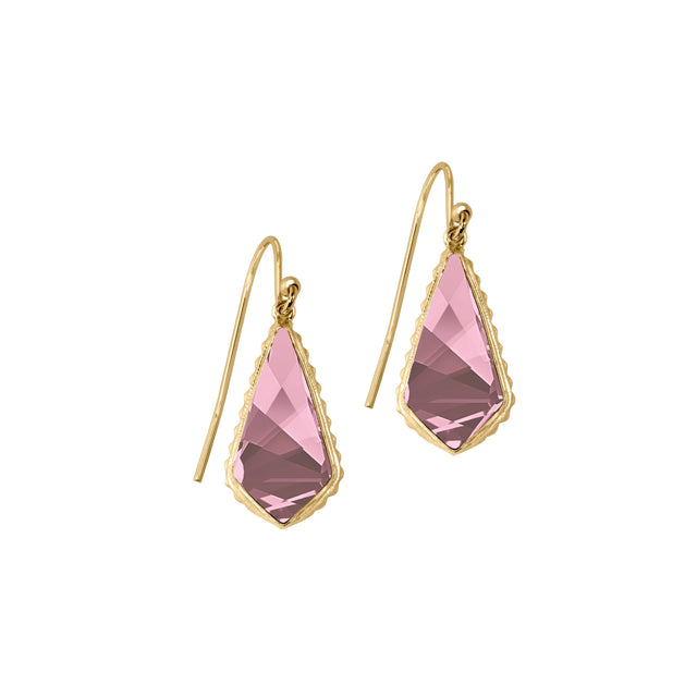 Sterling Silver Sloane Earrings In Antique Pink-Precious Metals Earrings-finish:18kt Gold Plated-Luca + Danni