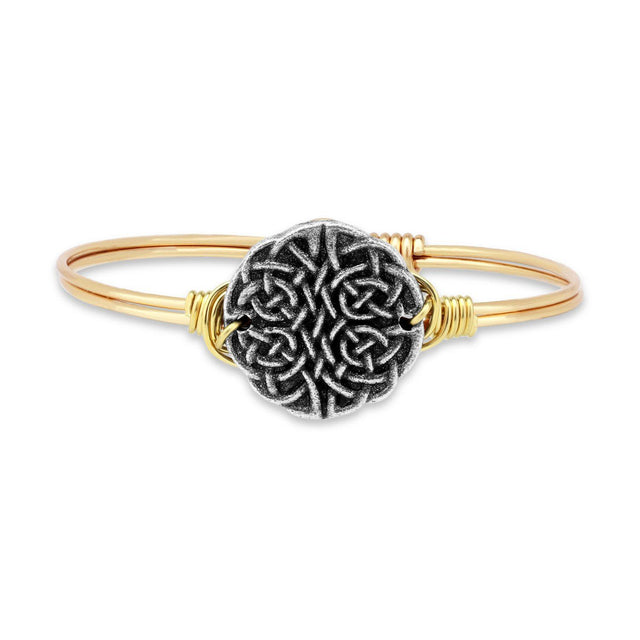 Journey Knot Bangle Bracelet-Bangle Bracelet-Regular-finish:Brass Tone-Luca + Danni