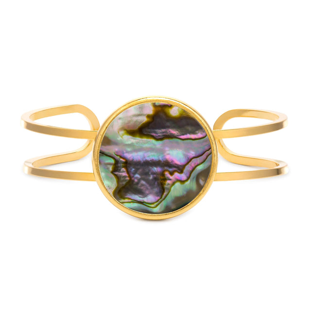 Kelsey Cuff in Abalone Shell-Cuff Bracelet-finish:18kt Gold Plated-Luca + Danni