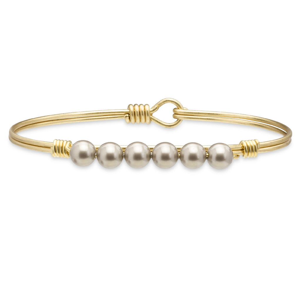 Crystal Pearl Bangle Bracelet In Platinum-Bangle Bracelet-Regular-finish:Brass Tone-Luca + Danni