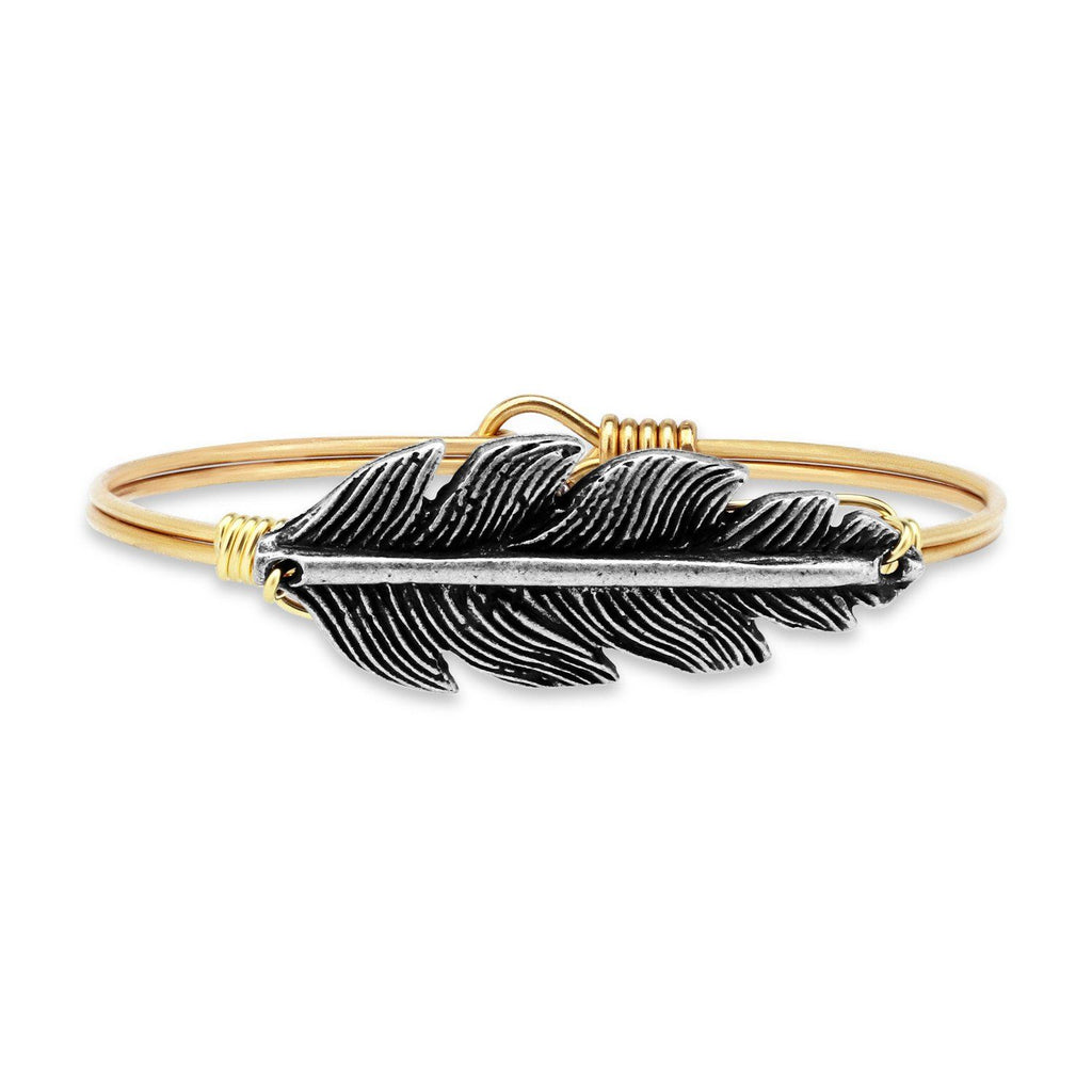 Lucky Feather Bangle Bracelet-Bangle Bracelet-Regular-finish:Brass Tone-Luca + Danni