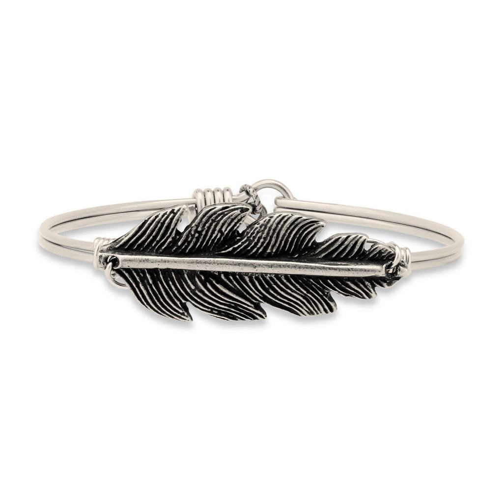 Lucky Feather Bangle Bracelet-Bangle Bracelet-Regular-finish:Silver Tone-Luca + Danni